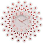 Degosh Circular Analog Red&White Metal Glass Wall Clock(46*46*5)