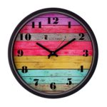 Amazon Brand – Solimo 12-inch Wall Clock – Coloured Stripes (Step Movement, Black Frame)