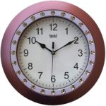 Ajanta Wall Clock for Home and Offices (25 cm x 25 cm, Step Movement, Brown)