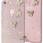DORRON Fashion Girls Vivo V7Plus (Rose Gold) New Luxury Design Bling 3D Butterfly Shining Sparkling Crystal Diamond Impression Rhinestones Glitter Back Removable Skin Beautiful Unique Cute Fancy Slim Fit Light Weight Elegant Trendy Stylish Designer Soft TPU Back Case Cover For Vivo V7 Plus / Vivo V7+ (Rose Gold)