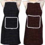 Yellow Weaves™ Check Design Waterproof Cotton Kitchen Aprons -Pack Of 2