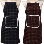 Yellow Weaves™ Check Design Waterproof Cotton Kitchen Aprons – Pack Of 2