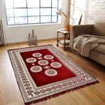 Mbs Home Furnishing Ethnic Velvet Touch Abstract Chenille Carpet