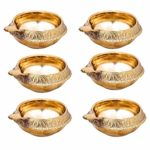 BrassLine (Set of 8) Handmade Indian Puja Brass Oil Lamp